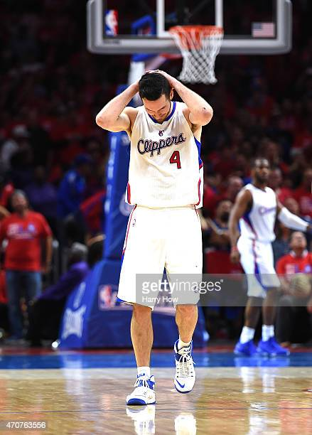 J Redick of the Los Angeles Clippers reacts after a missed three to tie the game against the San Antonio Spurs in overtime during Game Two of the...