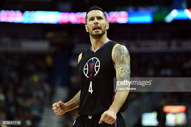 J Redick of the Los Angeles Clippers reacts to a called foul against the New Orleans Pelicans during the second half of a game at the Smoothie King...