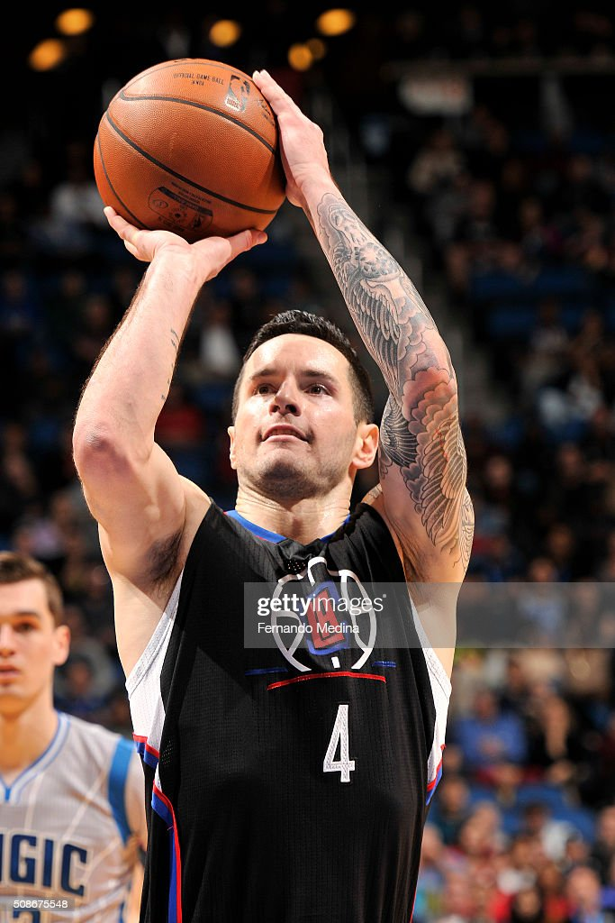 J.J. Redick #4 of the Los Angeles Clippers shoots a free throw during the game against the Orlando Magic on February 5, 2016 at Amway Center in Orlando, Florida.
