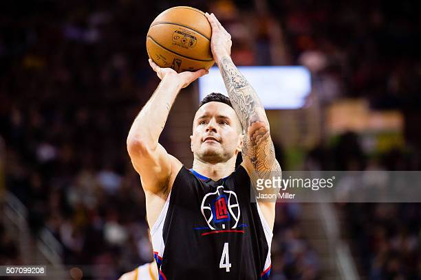 J Redick of the Los Angeles Clippers shoots from the freethrow line during the first half against the Cleveland Cavaliers at Quicken Loans Arena on...