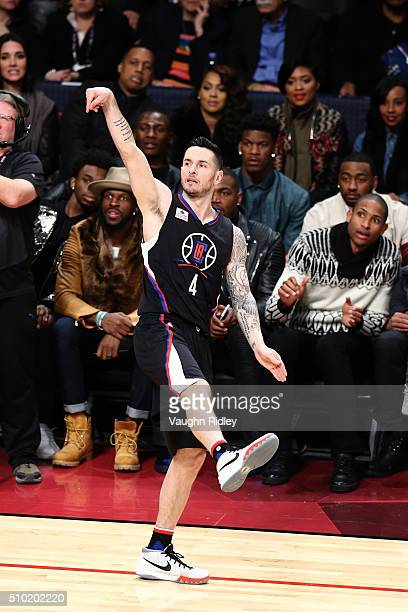J Redick of the Los Angeles Clippers shoots in the Foot Locker ThreePoint Contest during NBA AllStar Weekend 2016 at Air Canada Centre on February 13...
