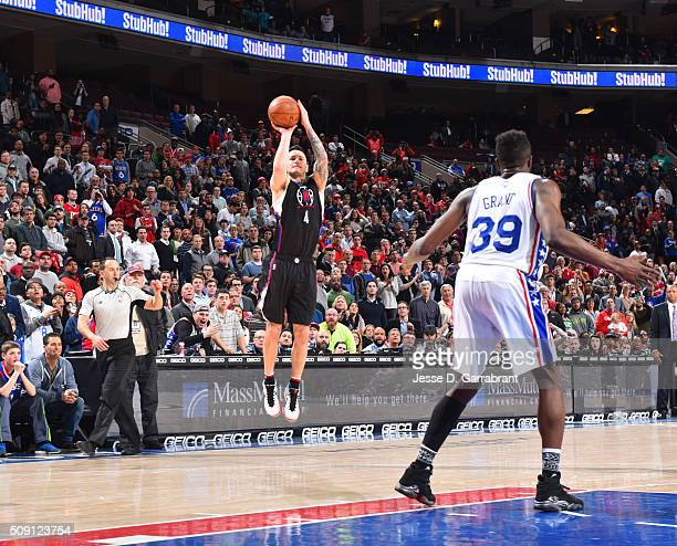 J Redick of the Los Angeles Clippers shoots the ball to tie the game up and sent it to overtime against the Philadelphia 76ers at Wells Fargo Center...