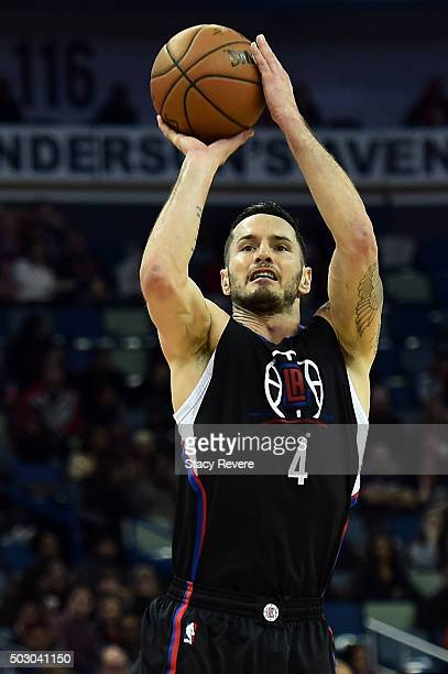 J Redick of the Los Angeles Clippers takes a shot during the second half of a game against the New Orleans Pelicans at the Smoothie King Center on...