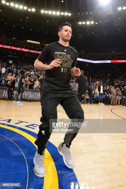 J Redick of the Los Angeles Clippers warms up before the game against the Golden State Warriors on February 23 2017 at ORACLE Arena in Oakland...