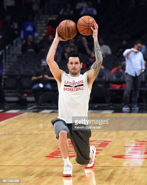 Redick of the Los Angeles Clippers warms up prior to the start of the basketball game against Houston Rockets at Staples Center April 10 in Los...