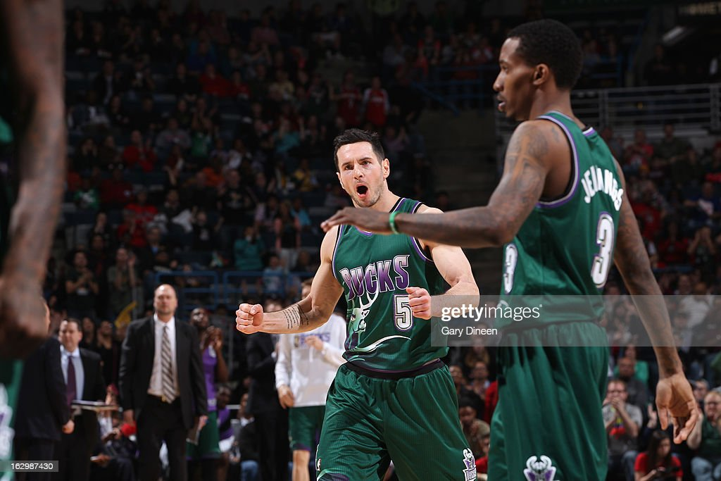 <a gi-track='captionPersonalityLinkClicked' href=/galleries/search?phrase=J.J.+Redick&family=editorial&specificpeople=211608 ng-click='$event.stopPropagation()'>J.J. Redick</a> #5 of the Milwaukee Bucks celebrates during overtime against the Toronto Raptors on March 2, 2013 at the BMO Harris Bradley Center in Milwaukee, Wisconsin.
