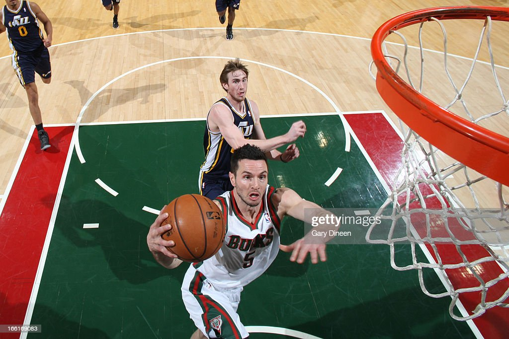 <a gi-track='captionPersonalityLinkClicked' href=/galleries/search?phrase=J.J.+Redick&family=editorial&specificpeople=211608 ng-click='$event.stopPropagation()'>J.J. Redick</a> #5 of the Milwaukee Bucks drives to the basket against the Utah Jazz on March 4, 2013 at the BMO Harris Bradley Center in Milwaukee, Wisconsin.