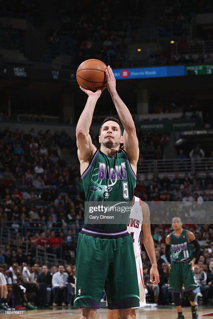 J.J. Redick #5 of the Milwaukee Bucks shoots a free throw during the game against the Atlanta Hawks on February 23, 2013 at the BMO Harris Bradley Center in Milwaukee, Wisconsin.