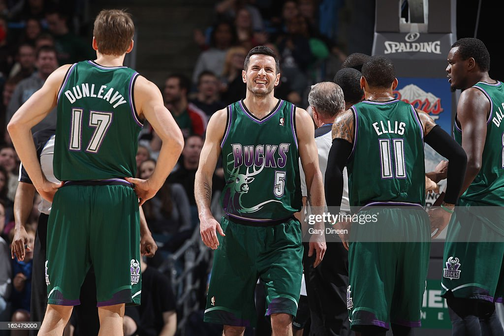 J.J. Redick #5 of the Milwaukee Bucks stands on the court during the game against the Atlanta Hawks on February 23, 2013 at the BMO Harris Bradley Center in Milwaukee, Wisconsin.