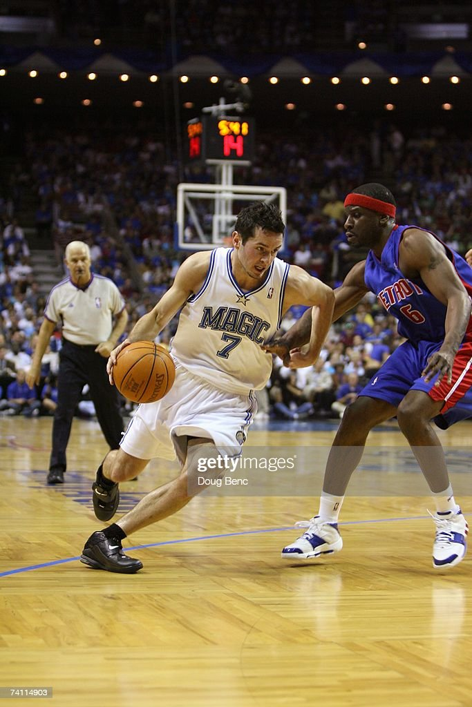 J.J. Redick #7 of the Orlando Magic drives against Ronald Murray #6 of the Detroit Pistons in Game Four of the Eastern Conference Quarterfinals during the 2007 NBA Playoffs at Amway Arena on April 28, 2007 in Orlando, Florida. The Pistons won 97-93 and won the series 4-0.
