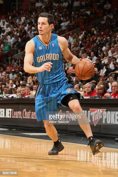 J Redick of the Orlando Magic drives the ball to the basket during the game against the Miami Heat on March 30 2009 at American Airlines Arena in...