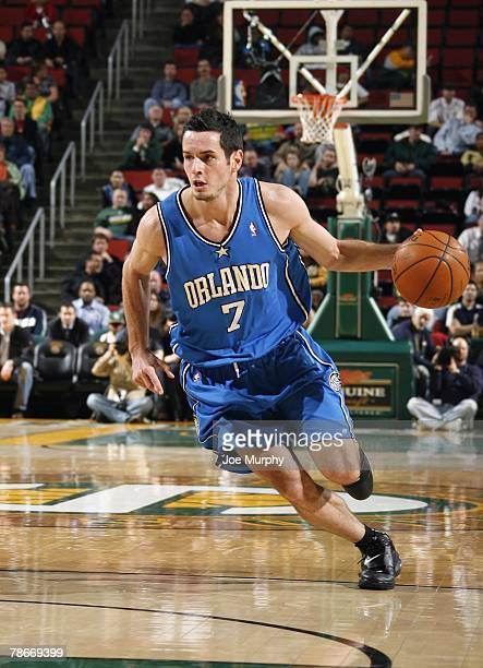 J Redick of the Orlando Magic drives the ball up court during the game against the Seattle SuperSonics at Key Arena on November 28 2007 in Seattle...
