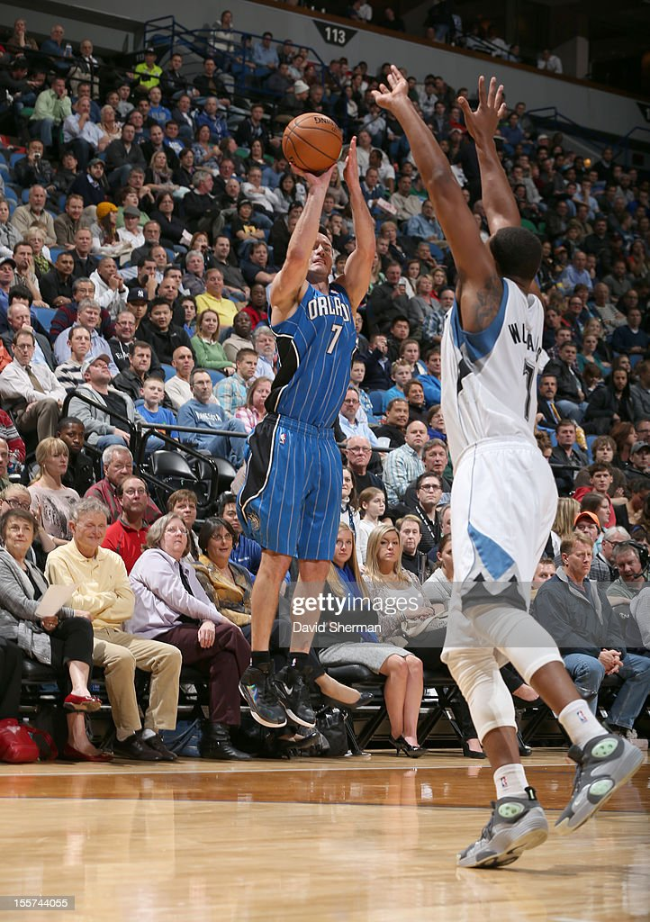 J.J. Redick #7 of the Orlando Magic goes for a jump shot during the game between the Minnesota Timberwolves and the Orlando Magic on November 7, 2012 at Target Center in Minneapolis, Minnesota.