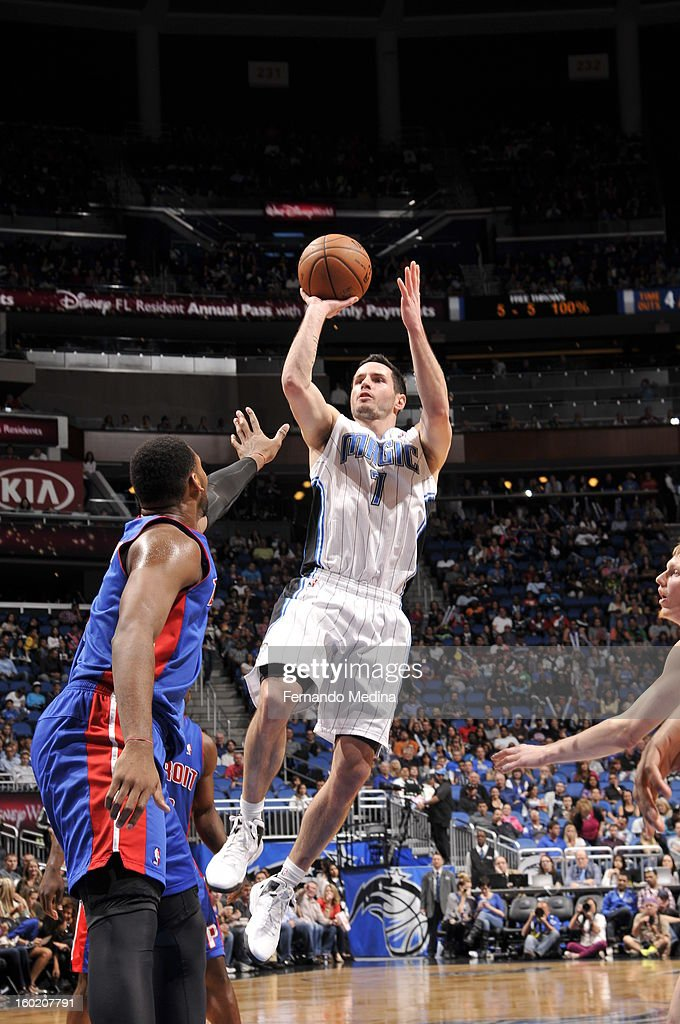 J.J. Redick #7 of the Orlando Magic goes for a jump shot during the game between the Detroit Pistons and the Orlando Magic on January 27, 2013 at Amway Center in Orlando, Florida.