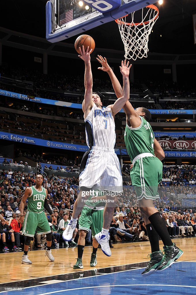 J.J. Redick #7 of the Orlando Magic goes to the basket during the game between the Boston Celtics and the Orlando Magic on November 25, 2012 at Amway Center in Orlando, Florida.