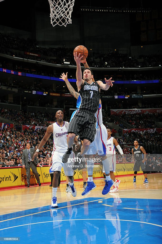 J.J. Redick #7 of the Orlando Magic goes up for the layup against the Los Angeles Clippers at Staples Center on January 12, 2013 in Los Angeles, California.