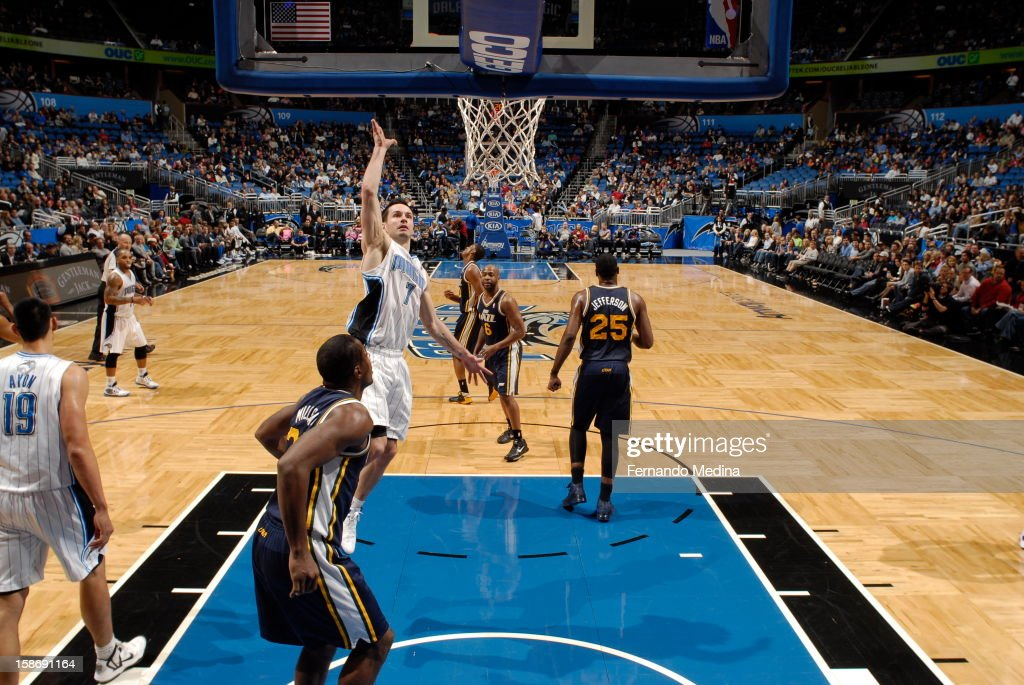 <a gi-track='captionPersonalityLinkClicked' href=/galleries/search?phrase=J.J.+Redick&family=editorial&specificpeople=211608 ng-click='$event.stopPropagation()'>J.J. Redick</a> #7 of the Orlando Magic throws up a floater against the Utah Jazz during the game on December 23, 2012 at Amway Center in Orlando, Florida.