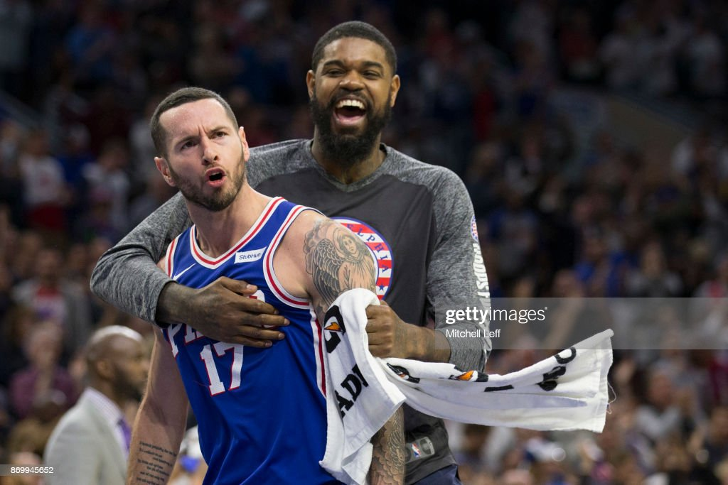 JJ Redick #17 of the Philadelphia 76ers celebrates with Amir Johnson #5 after a made three point basket against the Indiana Pacers in the fourth quarter at the Wells Fargo Center on November 3, 2017 in Philadelphia, Pennsylvania. The 76ers defeated the Pacers 121-110.