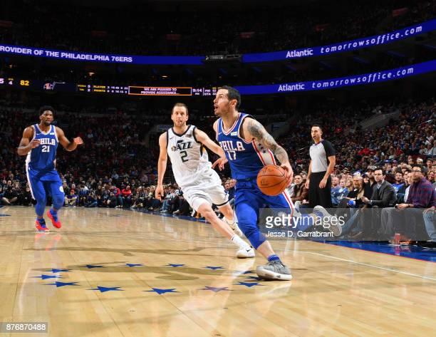 Redick of the Philadelphia 76ers drives to the basket against the Utah Jazz at Wells Fargo Center on November 20 2017 in Philadelphia Pennsylvania...