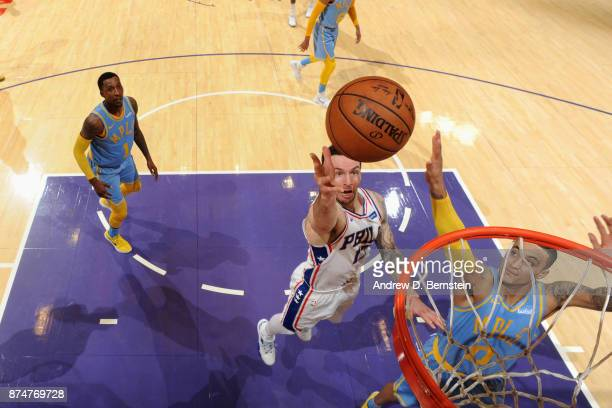 Redick of the Philadelphia 76ers goes to the basket against the Los Angeles Lakers on November 15 2017 at STAPLES Center in Los Angeles California...