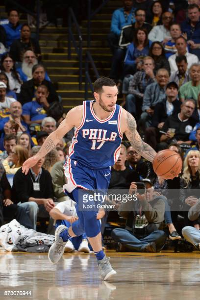 Redick of the Philadelphia 76ers handles the ball against the Golden State Warriors on November 11 2017 at ORACLE Arena in Oakland California NOTE TO...