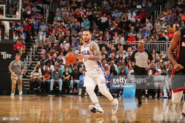 Redick of the Philadelphia 76ers handles the ball during the preseason game against the Miami Heat on October 13 2017 at Sprint Center in Kansas City...
