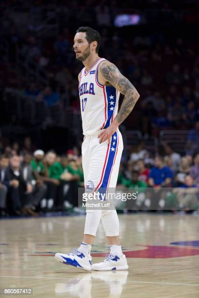 Redick of the Philadelphia 76ers looks on against the Boston Celtics at the Wells Fargo Center on October 6 2017 in Philadelphia Pennsylvania NOTE TO...