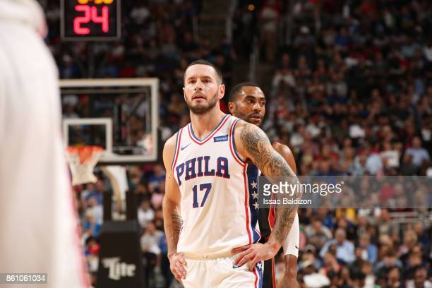 Redick of the Philadelphia 76ers looks on during the preseason game against the Miami Heat on October 13 2017 at Sprint Center in Kansas City...