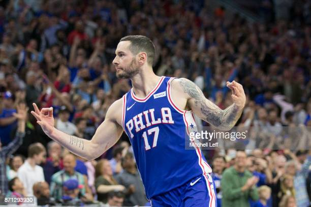 Redick of the Philadelphia 76ers reacts after a made basket against the Indiana Pacers at the Wells Fargo Center on November 3 2017 in Philadelphia...