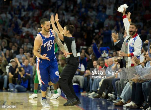 Redick of the Philadelphia 76ers reacts after a three point basket in the first quarter against the Boston Celtics at the Wells Fargo Center on...