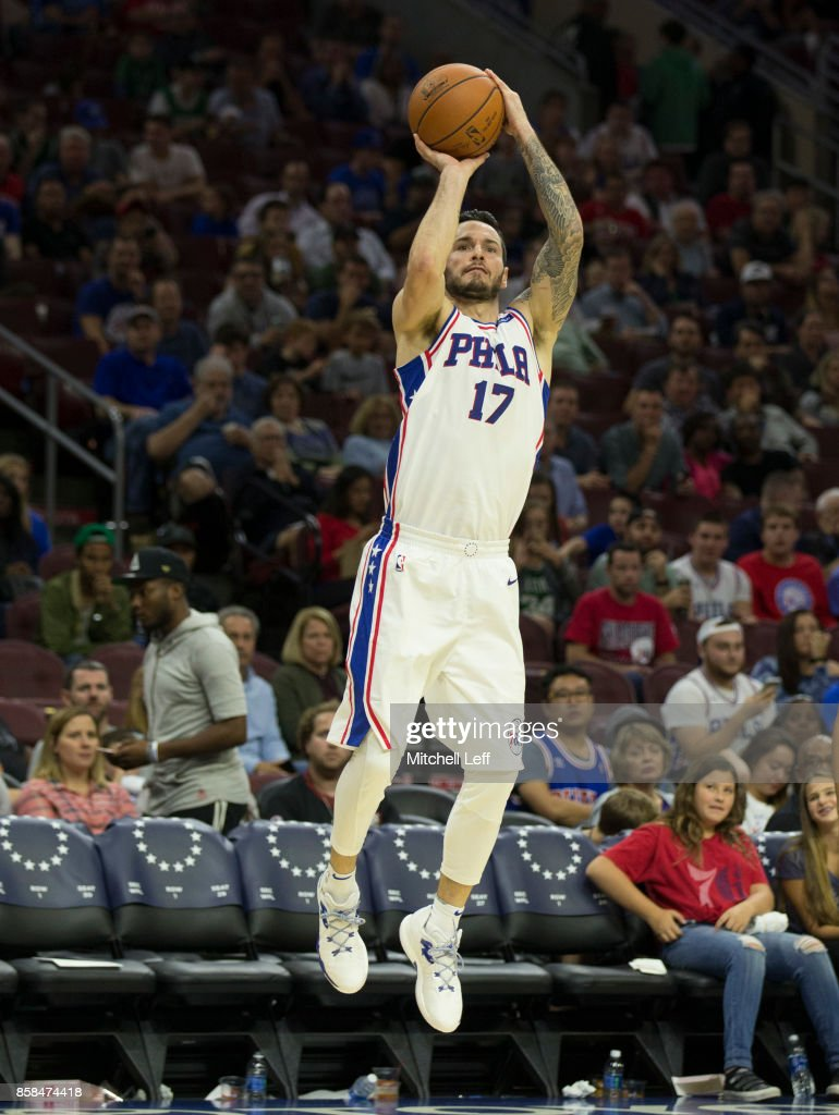 JJ Redick #17 of the Philadelphia 76ers shoots the ball against the Boston Celtics in the third quarter of the preseason game at the Wells Fargo Center on October 6, 2017 in Philadelphia, Pennsylvania. The Celtics defeated the 76ers 110-102.