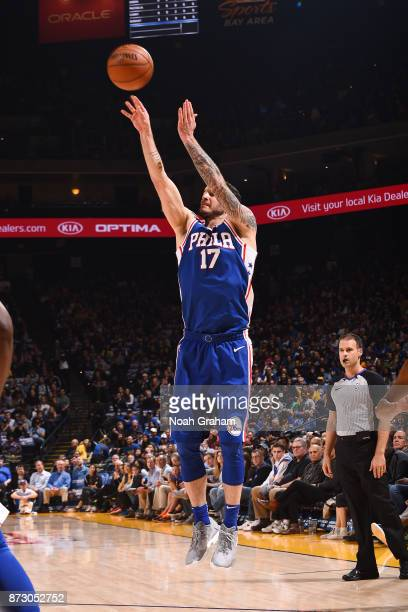 Redick of the Philadelphia 76ers shoots the ball against the Golden State Warriors on November 11 2017 at ORACLE Arena in Oakland California NOTE TO...