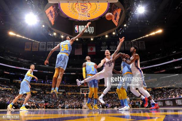 Redick of the Philadelphia 76ers shoots the ball against the Los Angeles Lakers on November 15 2017 at STAPLES Center in Los Angeles California NOTE...
