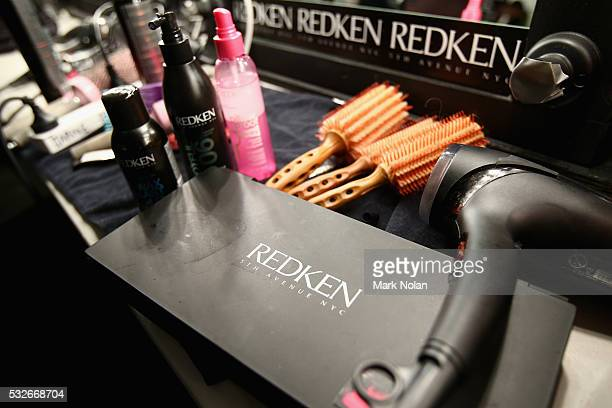 Redken products are seen backstage ahead of the Bondi Bather show at MercedesBenz Fashion Week Resort 17 Collections at Carriageworks on May 19 2016...