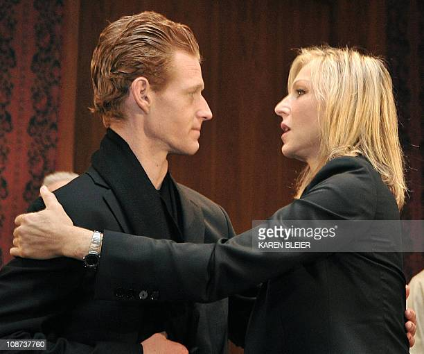 Redmond O'Neal and his halfsister Tatum greet one another following a ceremony in which items belonging to the late actress Farah Fawcett were...