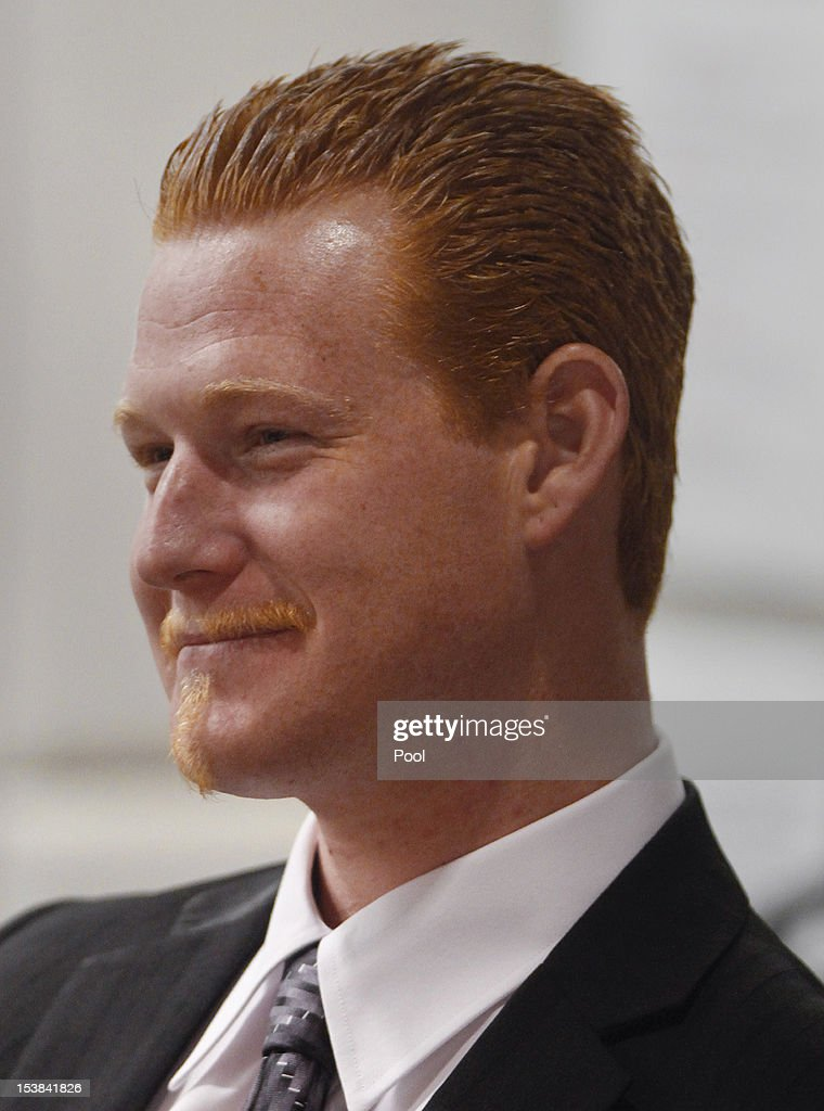 Redmond O'Neal smiles while Judge Keith Schwartz compliments him on his recovery efforts in the Airport Branch Courthouse October 9, 2012 in Los Angeles, California. O'Neil, the son of actors Ryan O'Neal and the late Farrah Fawcett was warned by Judge Keith Schwartz that if he violated any conditions of the probation that he would be sent to jail for six years.