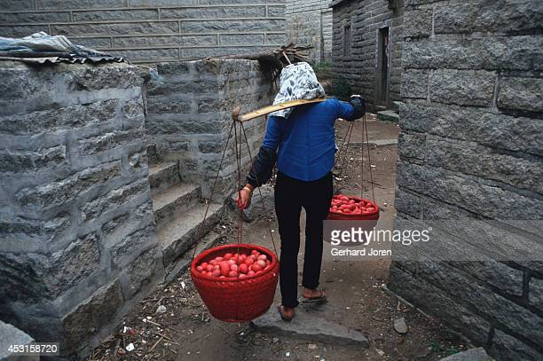 Redpainted eggs ready to be handed out to neighbours to celebrate a new born boy in Wu Feng village Hui'an county The event takes place 21 days after...