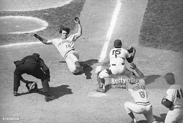 Red's Pete Rose running from 2nd out at home on long fly by Red's Ken Griffey Mets centerfielder Del Unser threw the ball to shortstop Mike Phillips...