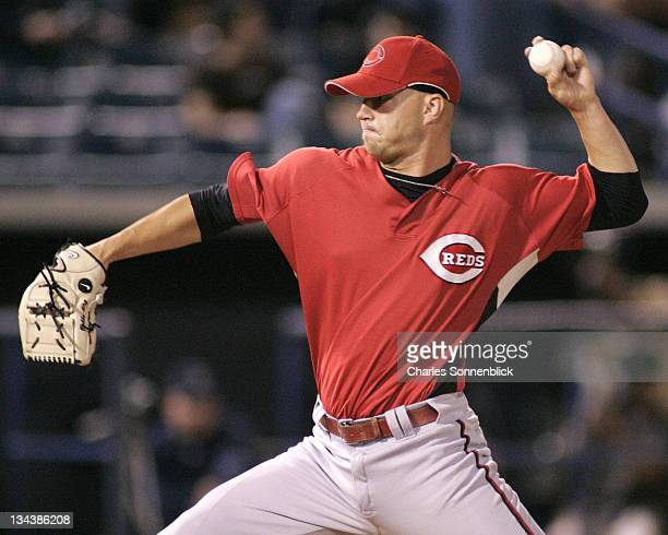 Reds pitcher Bobby Livingston warms up in between innings in a spring training game against the Yankees on March 7 2007 at Legends Field in Tampa...
