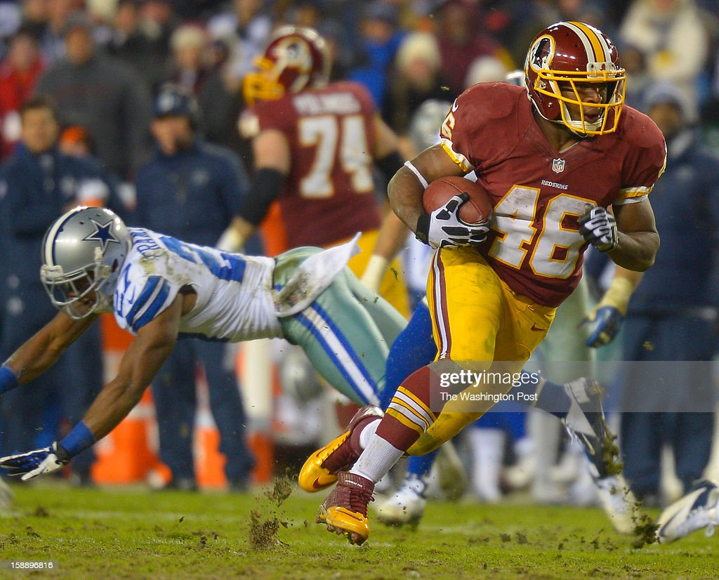 Redskin rookie running back Alfred Morris (46) breaks the Redskins all time rushing record for a single season with ,1,613 yards on a 200 yard performance during the Washington Redskins defeat of the Dallas Cowboys 28 - 18 for first place of the NFC East division and a playoff spot at FedEx in Landover MD, December 30, 2012 .