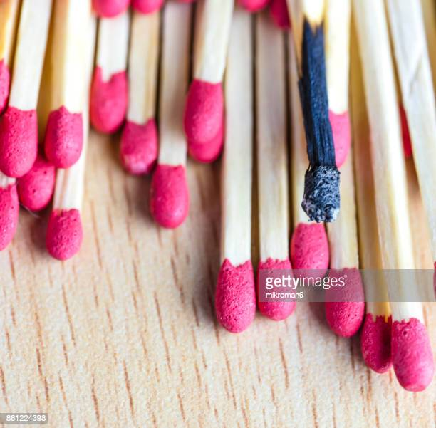 Red-tipped matches and one charred, matchsticks