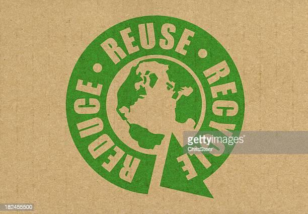 Reduzir a reutilização de reciclar logotipo com terra no centro