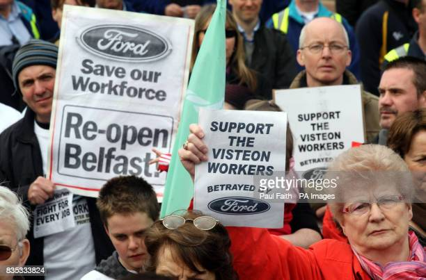 Redundant workers and supporters gather at City Hall Belfast