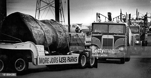 MAY 28 1977 MAR 29 1977 Redwoods Not peanuts to Loggers A convoy of 12 logging trucks pulled into Denver Saturday night from Washington DC Lead truck...
