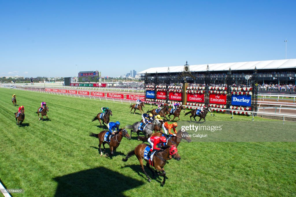 Redzel (red) ridden by Kerrin McEvoy wins the Darley Classic during 2017 Stakes Day at Flemington Racecourse on November 11, 2017 in Melbourne, Australia.