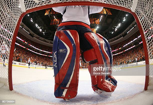 Reebok brand goalie pads are on display in this netcam shot during the Washington Capitals game against the Philadelphia Flyers in game three of the...