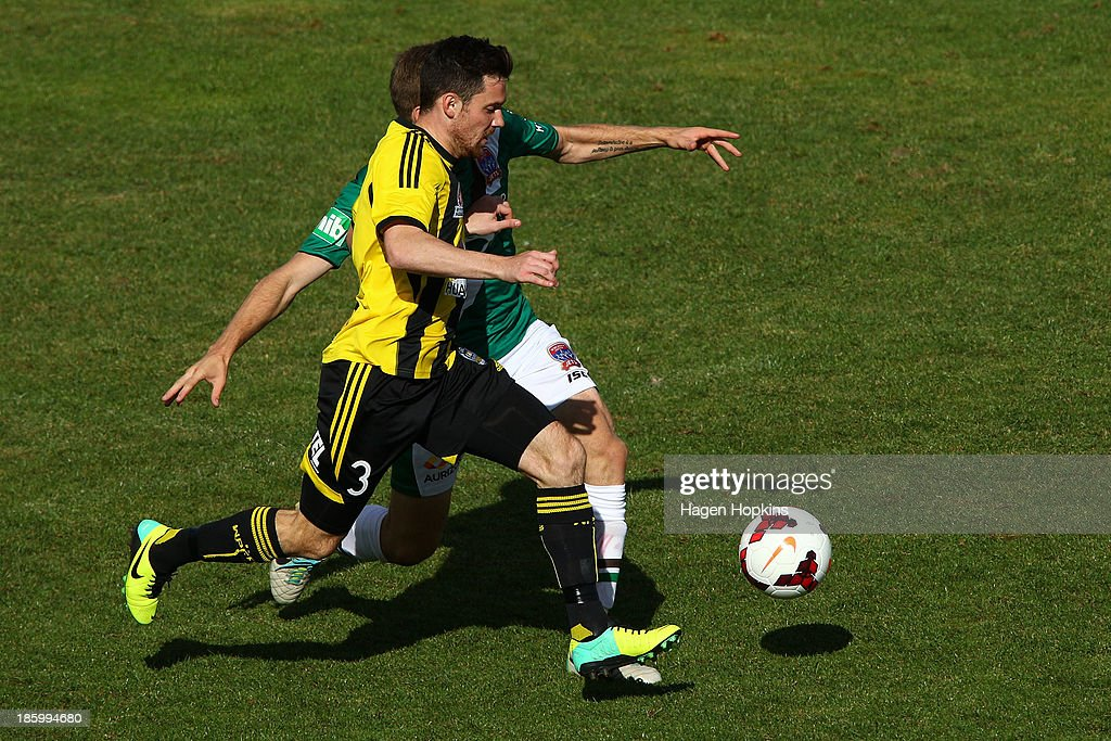 Reece Caira of the Phoenix makes a break during the round three A-League match between Wellington Phoenix and the Newcastle Jets at McLean Park on October 27, 2013 in Napier, New Zealand.