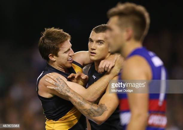 Reece Conca and Dustin Martin of the Tigers celebrate a goal during the round three AFL match between the Western Bulldogs and the Richmond Tigers at...