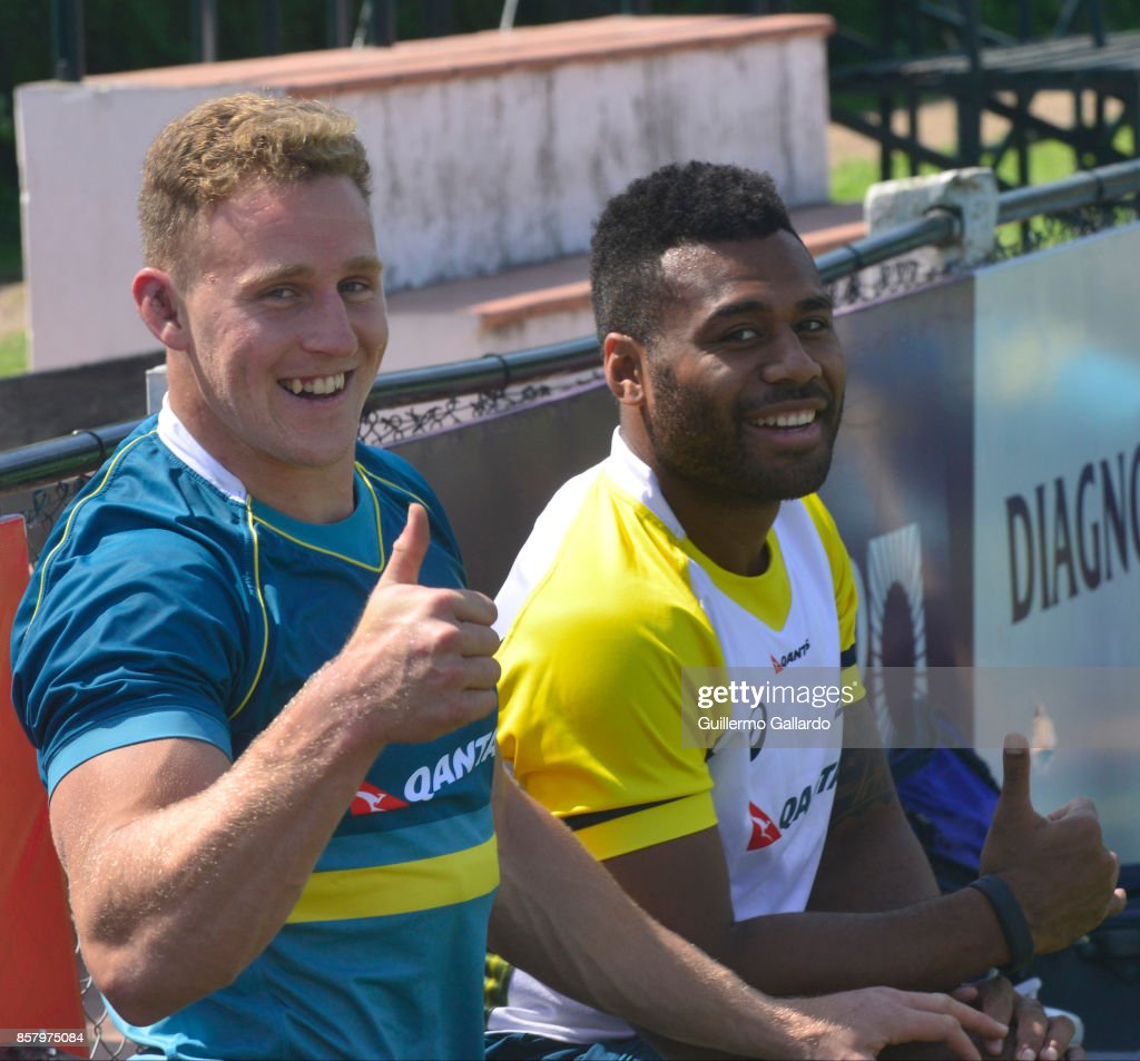 Reece Hodge and Samu Kerevi of Australia smile during the Australia Team Announcement and Training Session ahead of the match against Argentina at San Isidro Club on October 05, 2017 in Buenos Aires, Argentina.