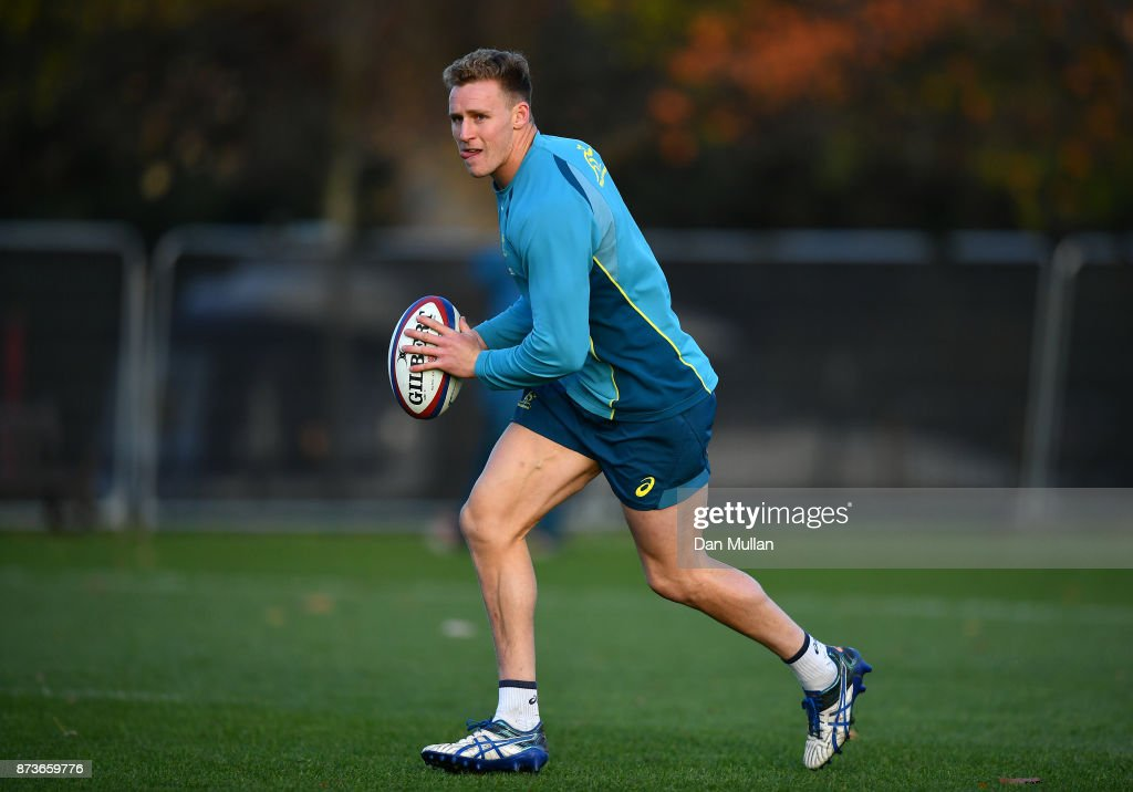 Reece Hodge of Australia looks for a pass during a training session at the Lensbury Hotel on November 13, 2017 in London, England.